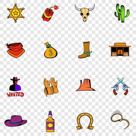 riding boot: Wild West set icons in hand drawn style on transparent background