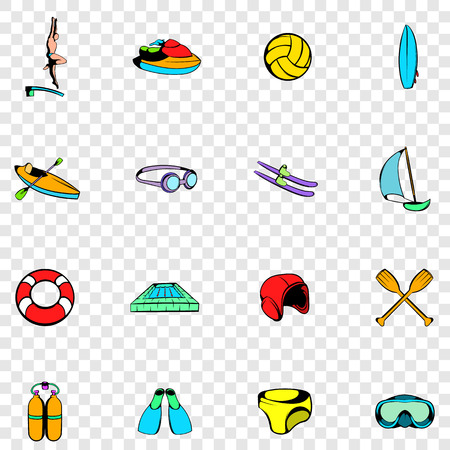 water sport: Water Sport set icons in hand drawn style on transparent background