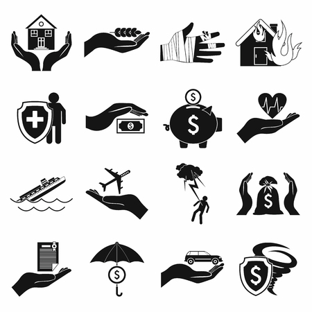 storm damage: Accident insurance icons set in simple style on a white background