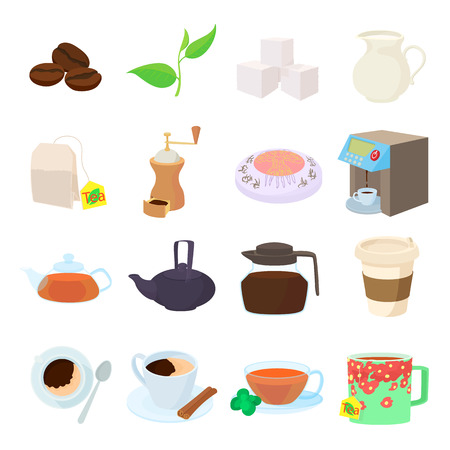 cofe: Coffee and tea icons set in cartoon style on a white background
