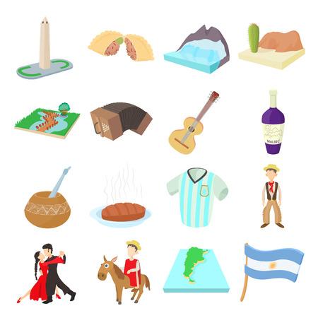icônes Argentine définies dans le style de bande dessinée sur un fond blanc