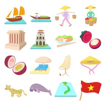 Vietnam icons set in cartoon style on a white background
