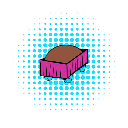 boxcar: Freight carriage icon in comics style isolated on white background Illustration