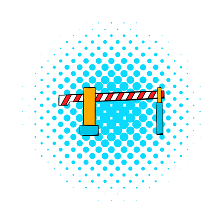 gated: Railway barrier icon in comics style isolated on white background Illustration