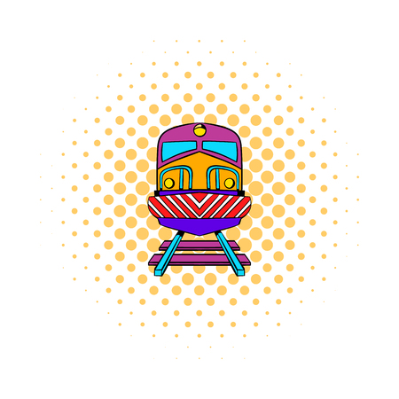 locomotion: Train icon in comics style isolated on white background