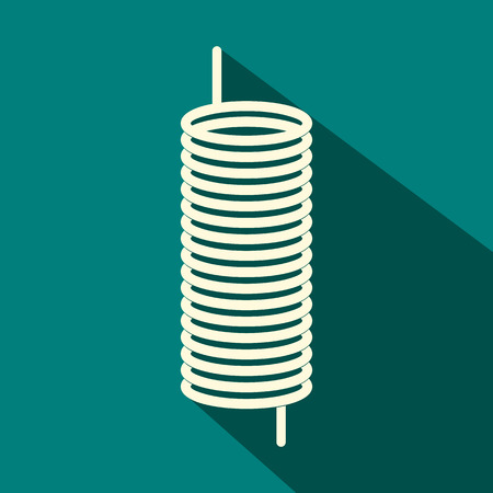 single coil: Metal spring icon in flat style on a blue background Illustration