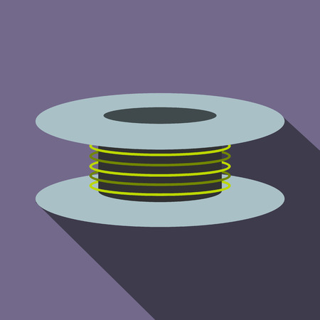 spool: Wire spool icon in flat style on a violet background