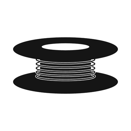 cabling: Wire spool icon in simple style on a white background