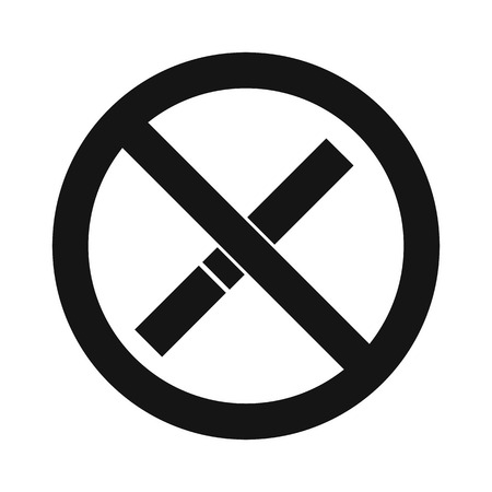 pernicious habit: No smoking sign icon in simple style on a white background