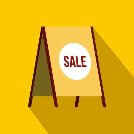sandwich board: Sandwich board with text Sale icon in flat style on a yellow background Illustration