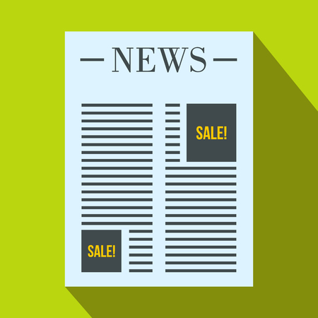 classified ads: Newspaper with space for advertisement icon in flat style on a green background Illustration