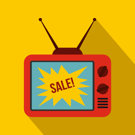 flat screen tv: TV screen with Sale text icon in flat style on a yellow background Illustration