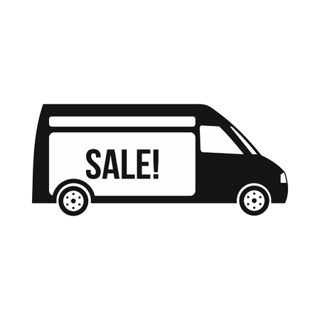 panel van: Delivery truck with inscription Sale icon in simple style on a white background