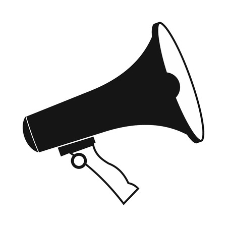 loudhailer: Megaphone icon in simple style on a white background Illustration