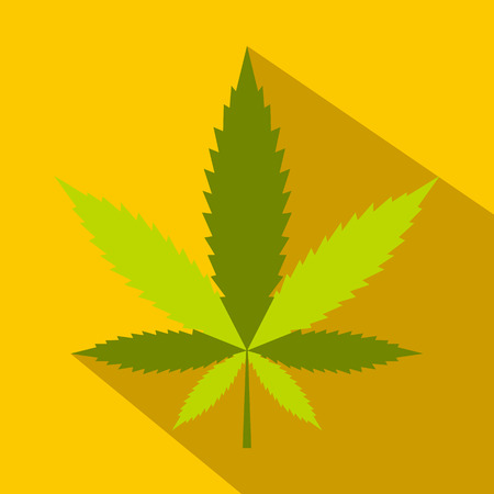 tetrahydrocannabinol: Hemp leaf icon in flat style on yellow background