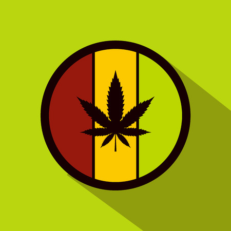 hemp: Hemp leaf on round rasta flag icon in flat style on green background