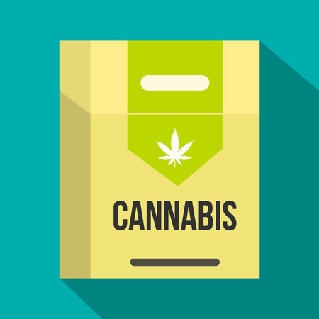 tobacco product: Cannabis cigarette box icon in flat style on green background