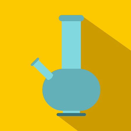 bong: Bong for smoking icon in flat style on yellow background