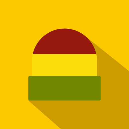 rasta hat: Tricolor rasta cap icon in flat style on yellow background. Jamaican hat