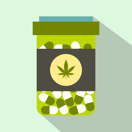 plastic container: Green drug plastic container icon in flat style on light green background Illustration