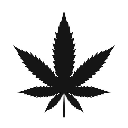 Hanfblatt-Symbol in schwarz einfachen Stil isoliert auf weißem Hintergrund