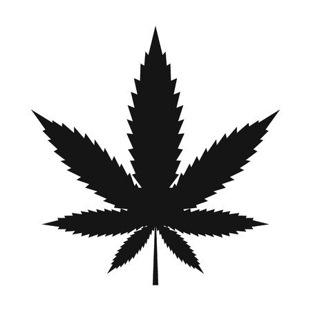 hashish: Hemp leaf icon in black simple style isolated on white background Illustration