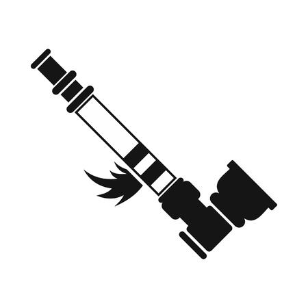bong: Smoking pipe for marijuana icon in black simple style isolated on white background Illustration