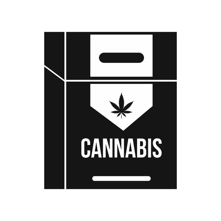 baccy: Cannabis cigarette box icon in black simple style isolated on white background Illustration