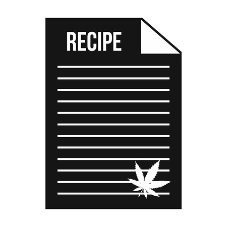 curative: Medical recipe with hemp leaf icon in black simple style isolated on white background