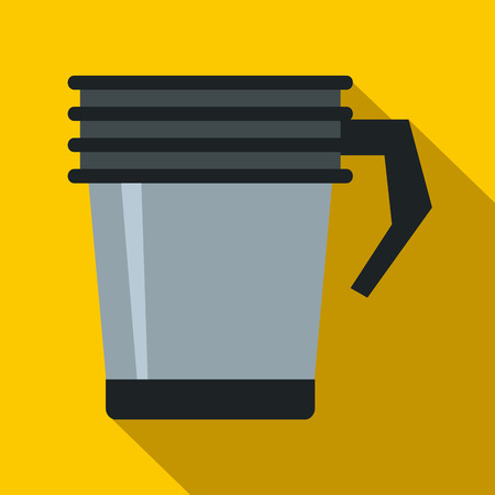 thermo: Thermo cup icon in flat style on a yellow background Illustration