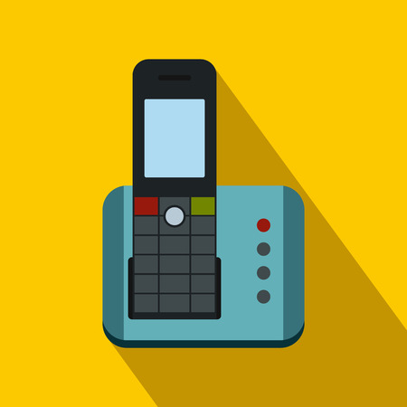 Cordless phone icon in flat style on a yellow background