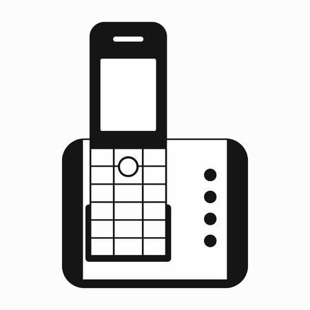 cordless phone: Cordless phone icon in simple style on a white background Illustration