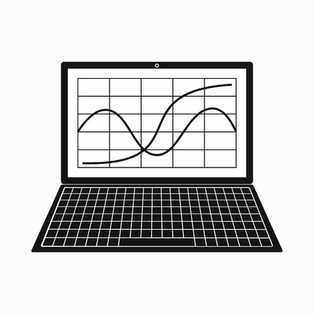 laptop icon: Laptop with business graph icon in simple style on a white background Illustration