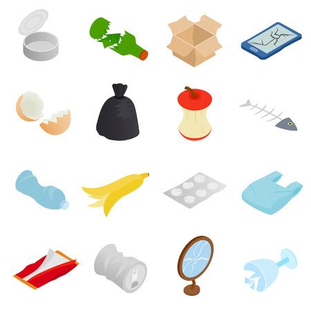 Residuos y basura para el reciclaje de iconos fijados en estilo isométrica 3d sobre un fondo blanco