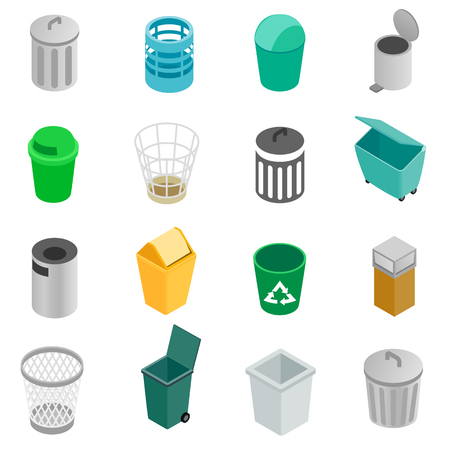 garbage can: Trash can icons set in isometric 3d style on a white background