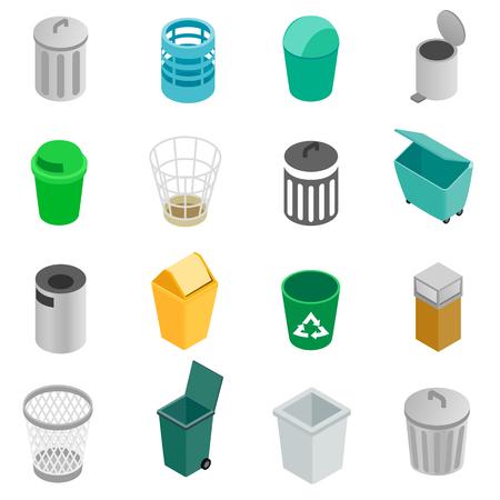 Trash können Symbole in isometrischer 3D-Stil auf einem weißen Hintergrund