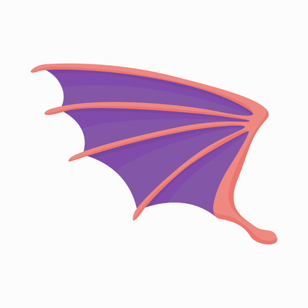 literary characters: Violet dragon wing icon in cartoon style isolated on white background Illustration