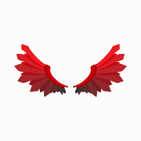 cartoon devil: Red wings of devil icon in cartoon style isolated on white background