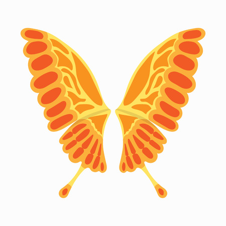 Orange butterfly wings icon in cartoon style isolated on white background