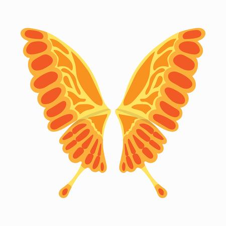 Orange des ailes de papillon icône dans le style de dessin animé isolé sur fond blanc