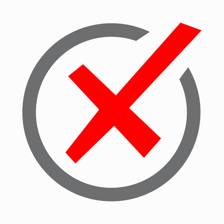 Red cross, check mark icon in simple style on a white background Illustration