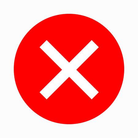 Rotes Kreuz, Häkchen-Symbol in einfachen Stil auf einem weißen Hintergrund