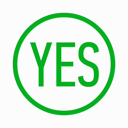 answer approve of: Yes icon in simple style on a white background