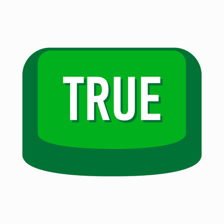 truthful: True green button icon in simple style on a white background