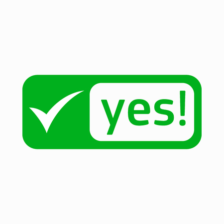 yes check mark: Yes check mark icon in simple style on a white background
