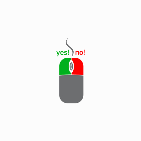 clique: Computer mouse with yes and no button icon in simple style on a white background