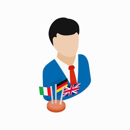 translator: Translator icon in isometric 3d style on a white background
