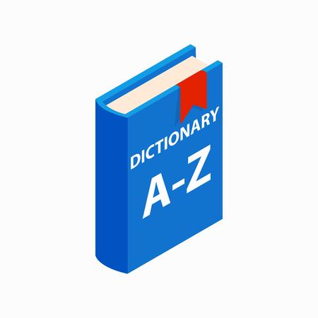Słownik ikona książka izometrycznym 3d stylu na białym tle