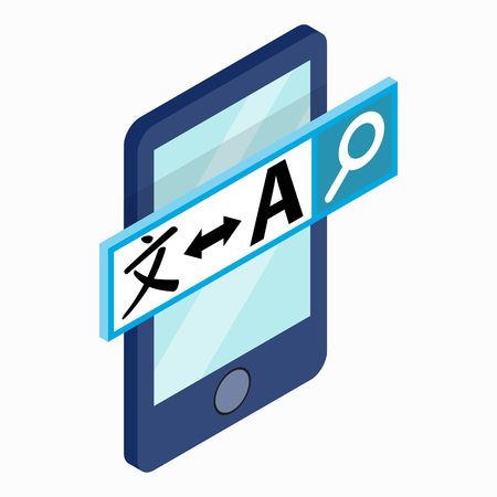 translator: Smartphone with translator on the screen icon in isometric 3d style on a white background
