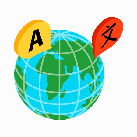 interpreter: Globe with location marks icon in isometric 3d style on a white background